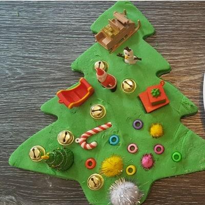 Giant playdough Christmas tree invitation to play finished 1