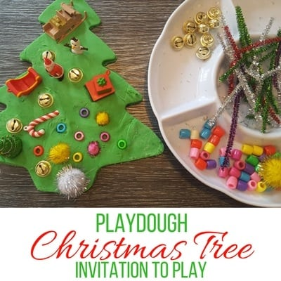 Giant playdough christmas tree invitation to play square