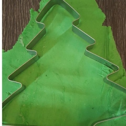 giant Christmas tree playdough invitation to play cutting the tree (Small)
