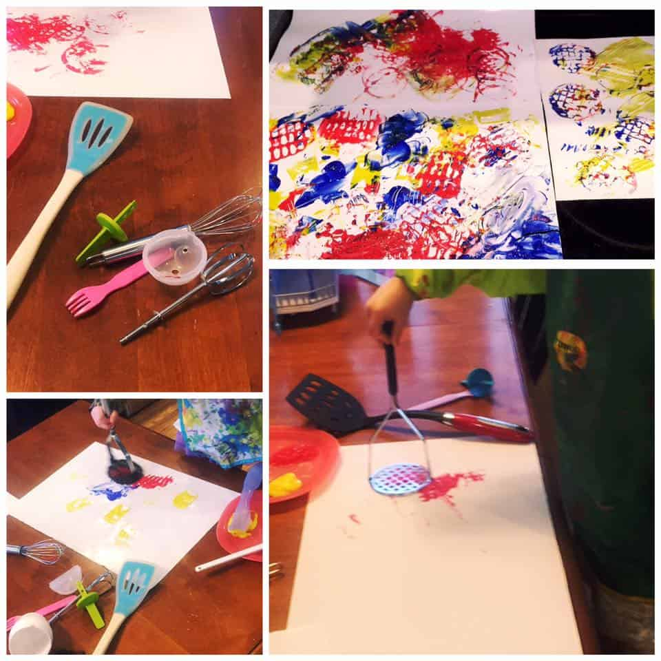 painting with kitchen utensils toddlers