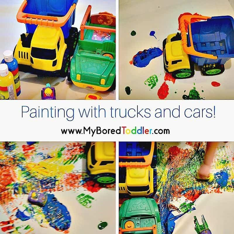 Painting with trucks and cars!