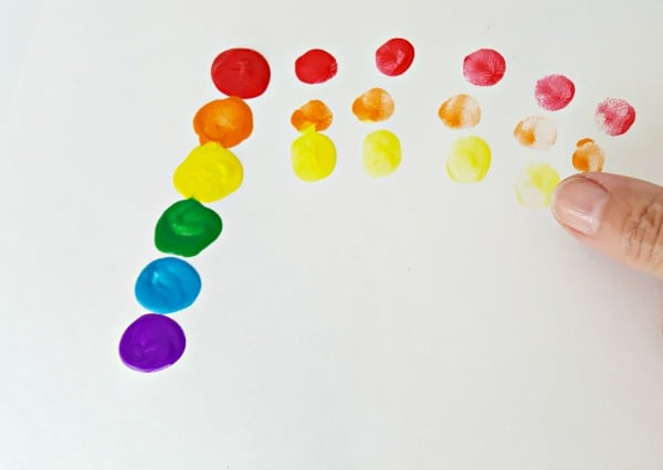 finger painting rainbow