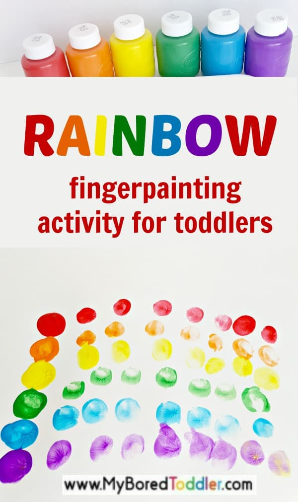 Finger Painting Rainbow activity. A fun toddler painting activity. #toddlerpainting #toddlercraft #toddleractivity