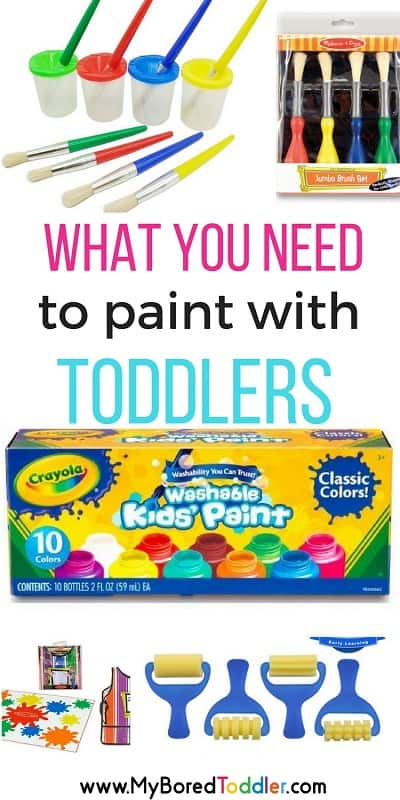 What you need to paint with toddlers #toddleractivities #toddleractivity #toddlerpainting #toddlercraft painting with toddlers. This is part of our toddler painting challenge