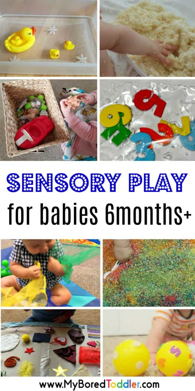 easy sensory play ideas for babies 6 months pllus. Baby activities involving sensory play #babysensory #babyactivity