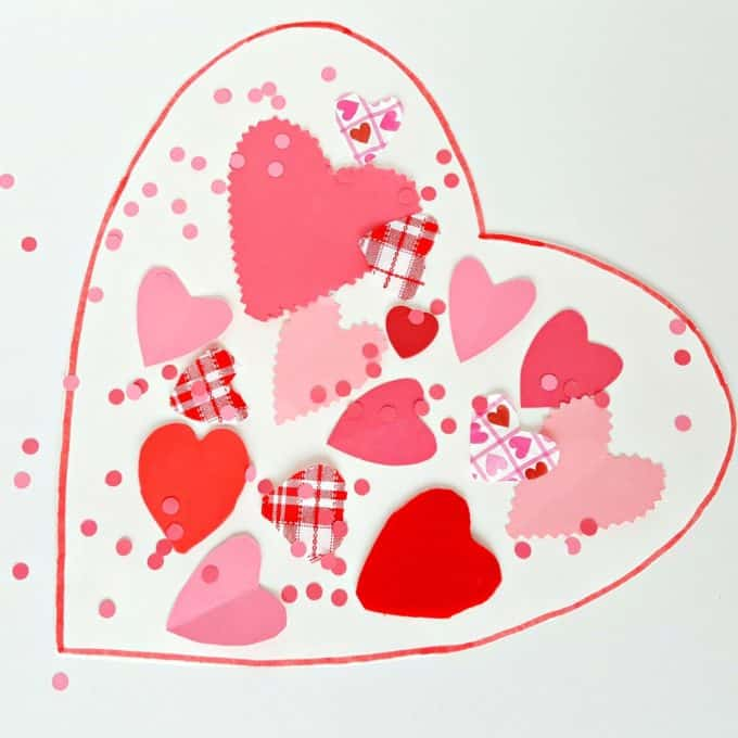 valentine-themed collage toddler art activity