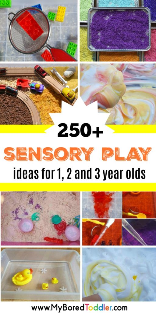 sensory play ideas for toddlers - 1 year old 2 year old 3 year old - sensory bins sensory tubs sensory challenges #sensorybins #sensoryplay #toddlersensory