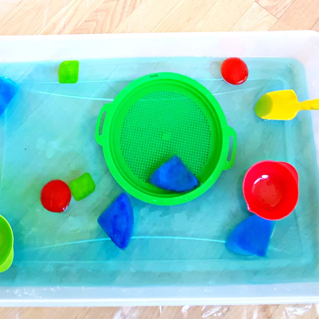 Water Play with Ice Shapes - My Bored Toddler