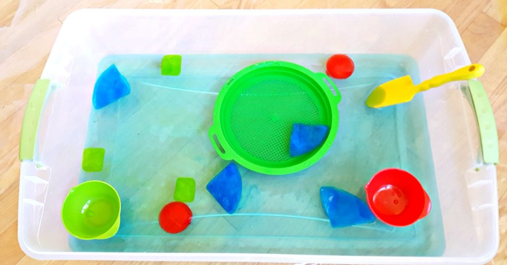 ice shapes toddler water play activity