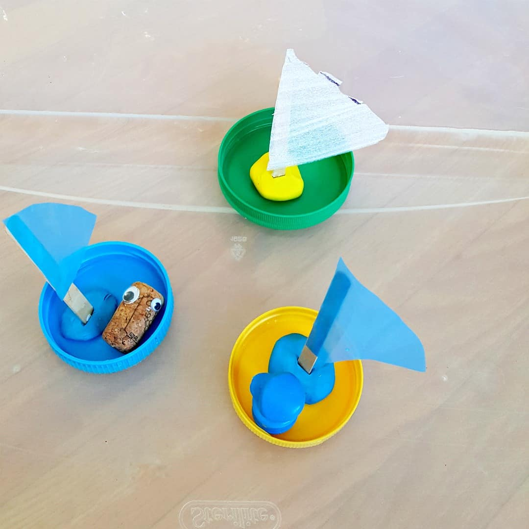 sailing jar lid boats water play for kids