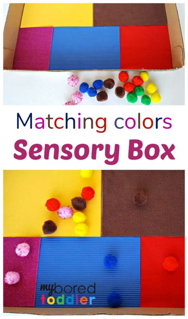 matching colors sensory box for toddlers