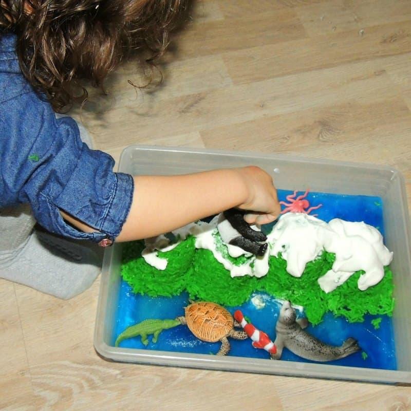 playing with the edible sensory bin
