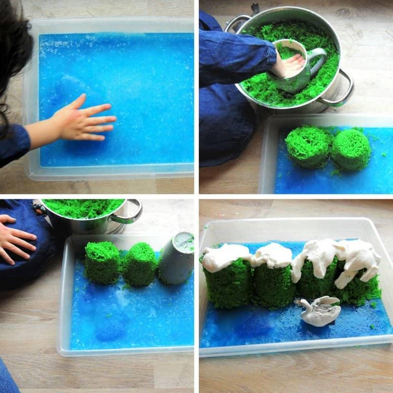step by step to make an edible sensory bin