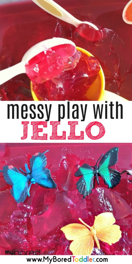 messy play with jello. a fun sensory bin for babies, toddlers and preschoolers. The perfect messy play activity!