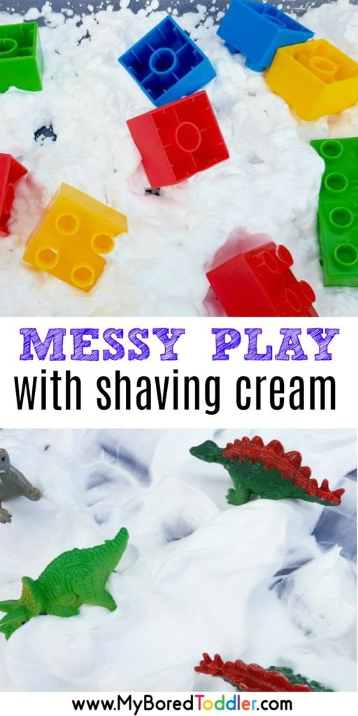 messy play with shaving cream or whipped cream and toys pinterest
