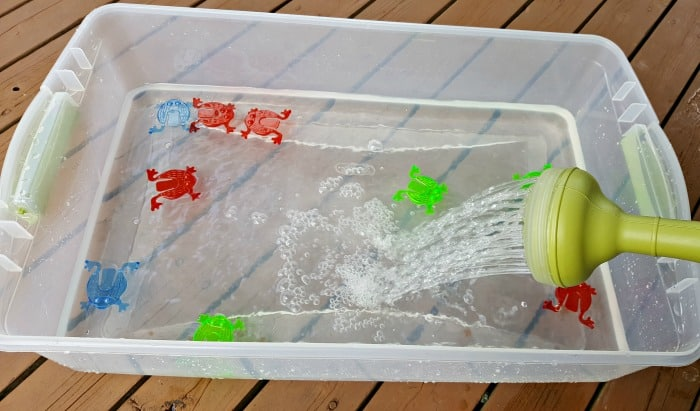 pouring water for fly swatter water play
