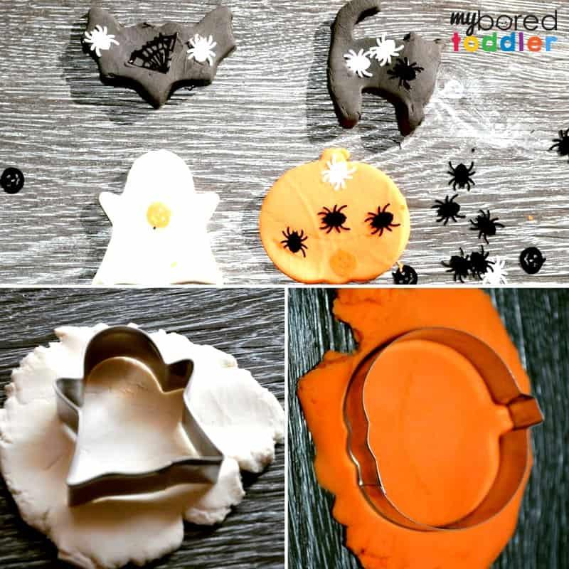 Halloween pumpkin bat ghost playdough invitation to play toddlers preschoolers