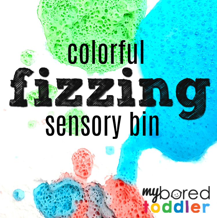 colorful fizzing sensory bin feature