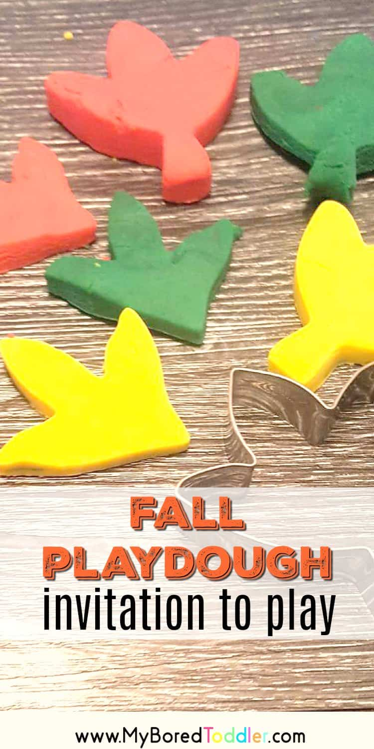 fall playdough invitation to play for toddlers and preschoolers easy fall craft #toddleractivities #myboredtoddler #toddlercraft #toddlerfall #fall #playgdough