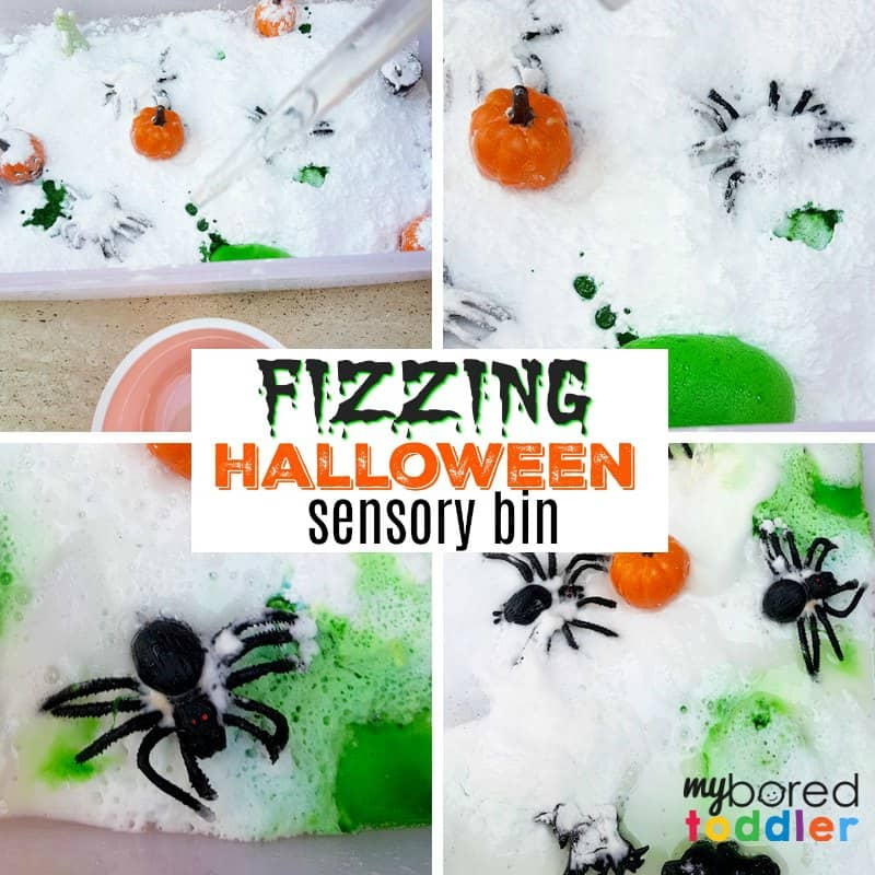 Halloween Fizzing Science Sensory Bin – vinegar and baking soda