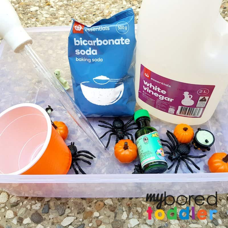 fizzing halloween science sensory bin baking soda vinegar what you need