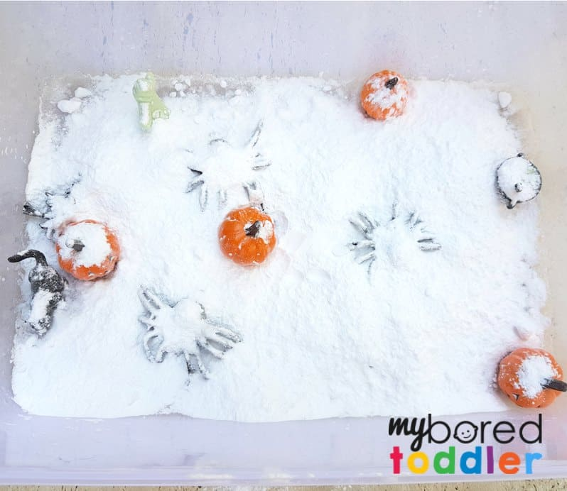 fizzing halloween science sensory bin for toddlers setup 2 with bicarb baking soda and vinegar