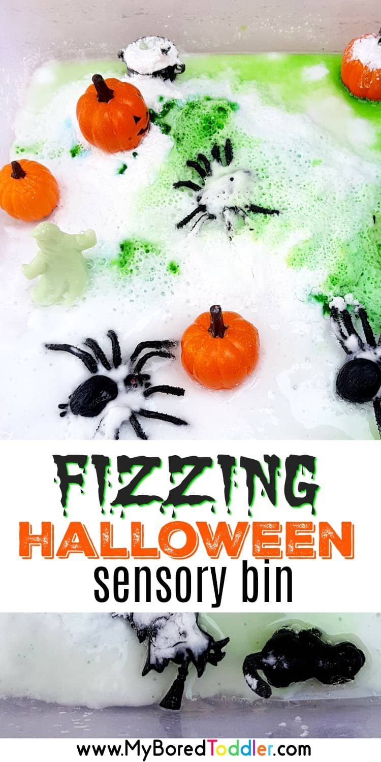 fizzing halloween sensory bin science stem steam for toddlers 2 year olds 3 year olds preschoolers