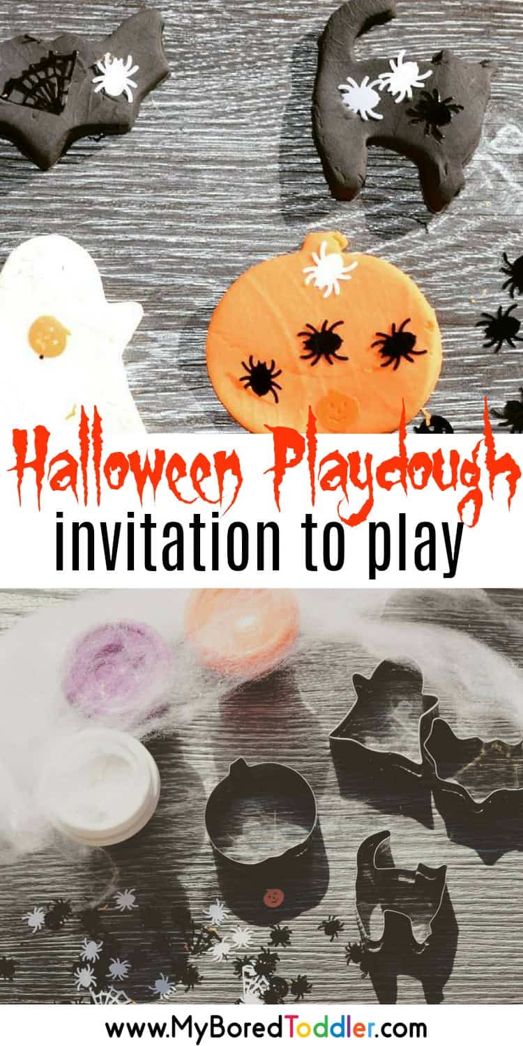 halloween playdough invitation to play for toddlers and preschoolers