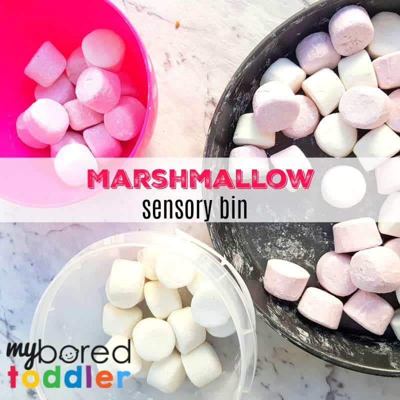 Marshmallow Sensory Bin – sensory fun for toddlers