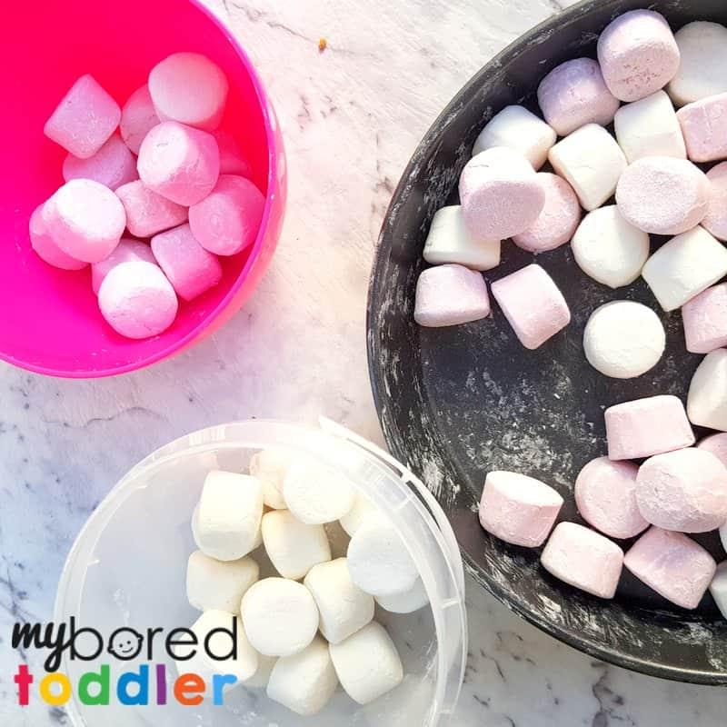 marshmallow sensory bin toddlers sorting