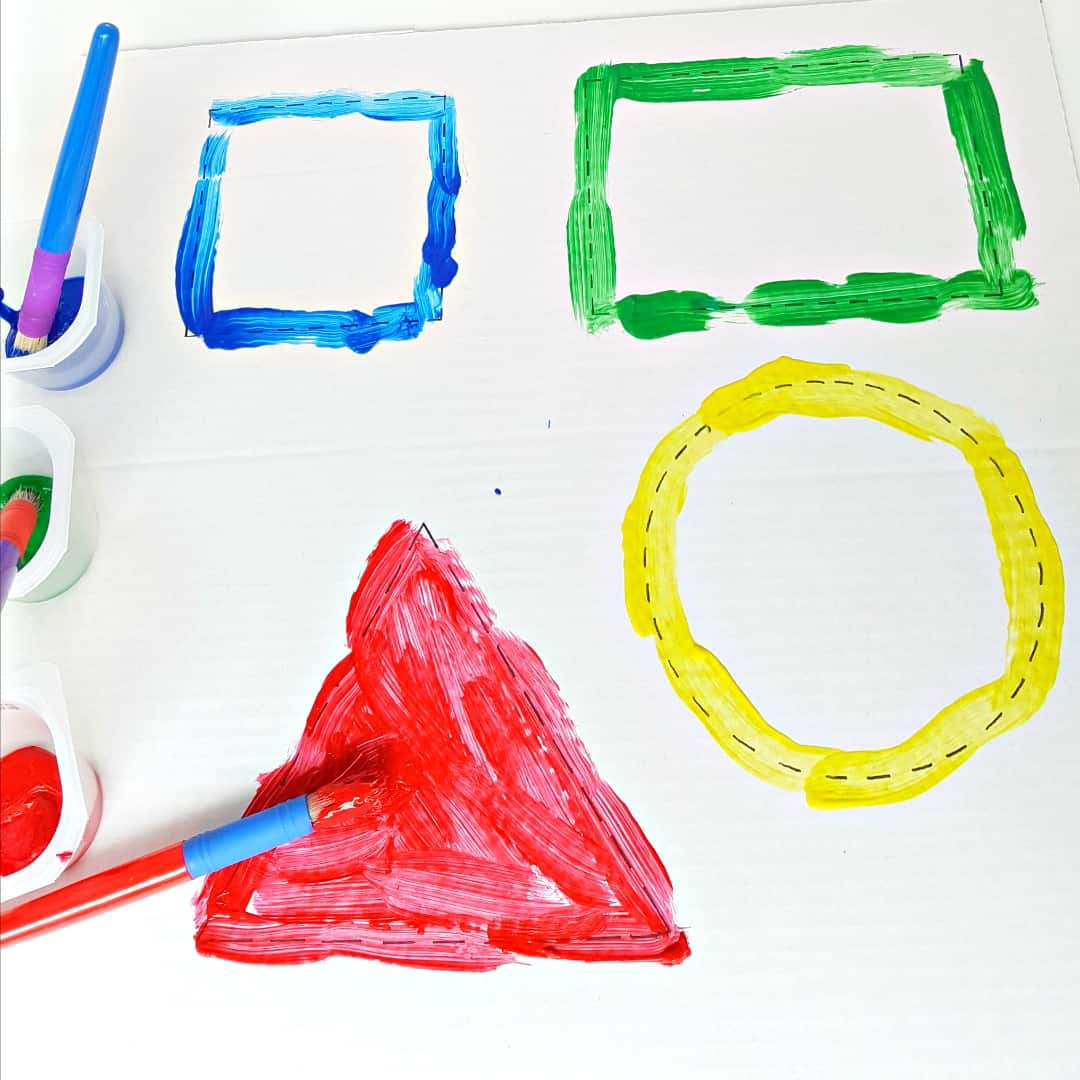 painting shapes with toddler for fine motor and creative fun