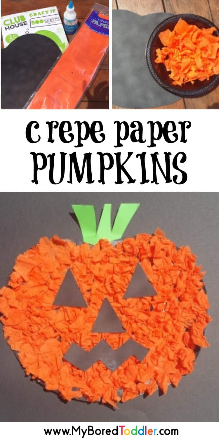 Crepe Paper pumpkin craft for toddlers scrunching crepe paper pinterest