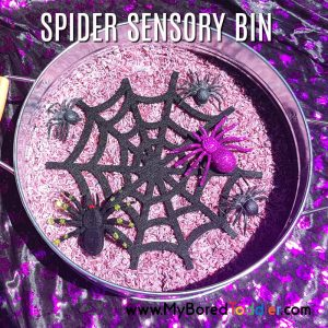 Halloween spider sensory rice bin feature image