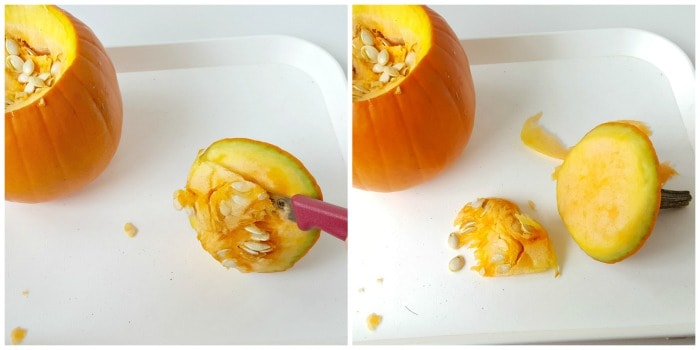 Remove pulp from pumpkin top