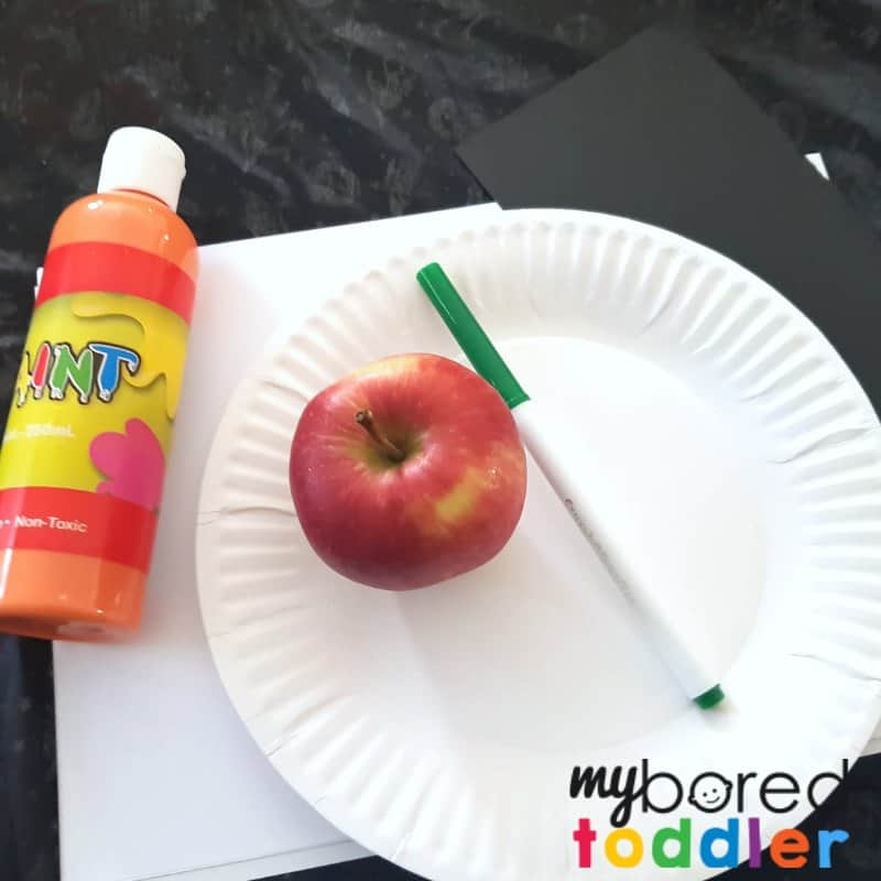 apple printing pumpkin Halloween craft for toddlers what you need