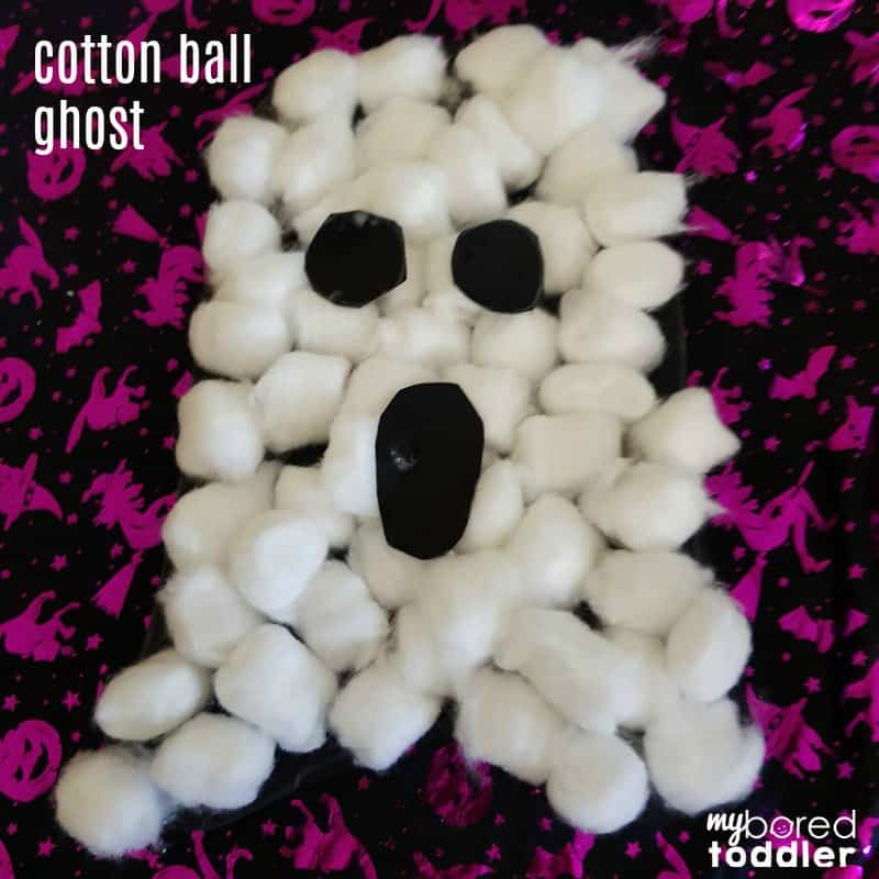 Cotton wool ball ghost craft for toddlers