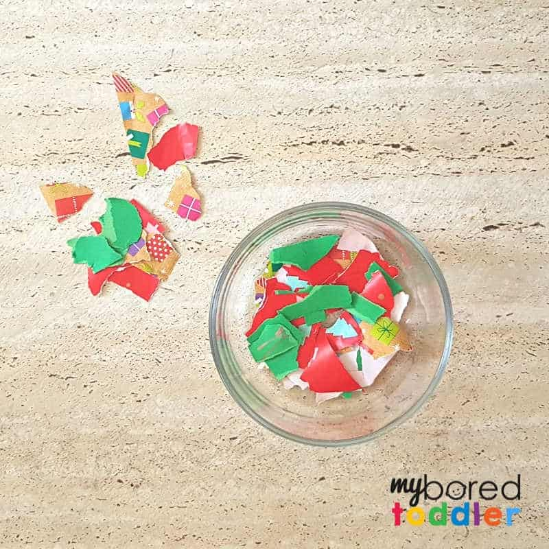 easy christmas ornament for toddlers ripping the paper