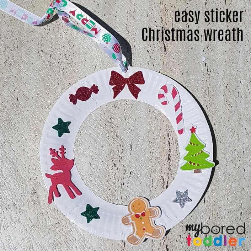 Easy Christmas sticker wreath craft for toddlers