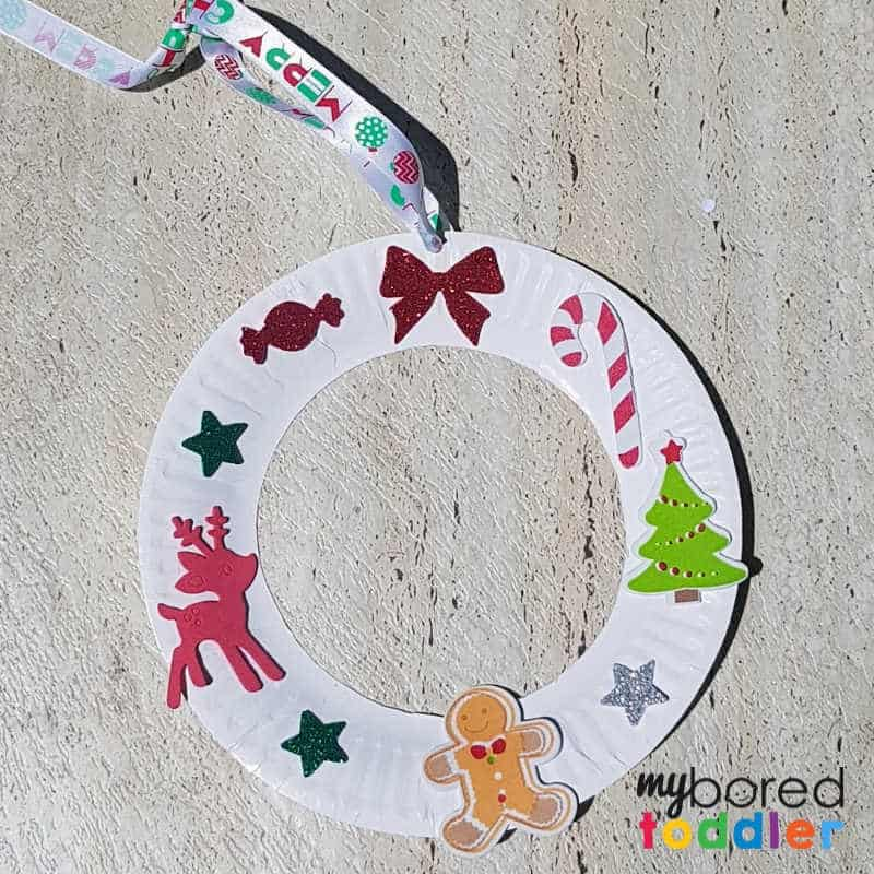 Easy Sticker Christmas Wreath For Toddlers Finished With Logo My