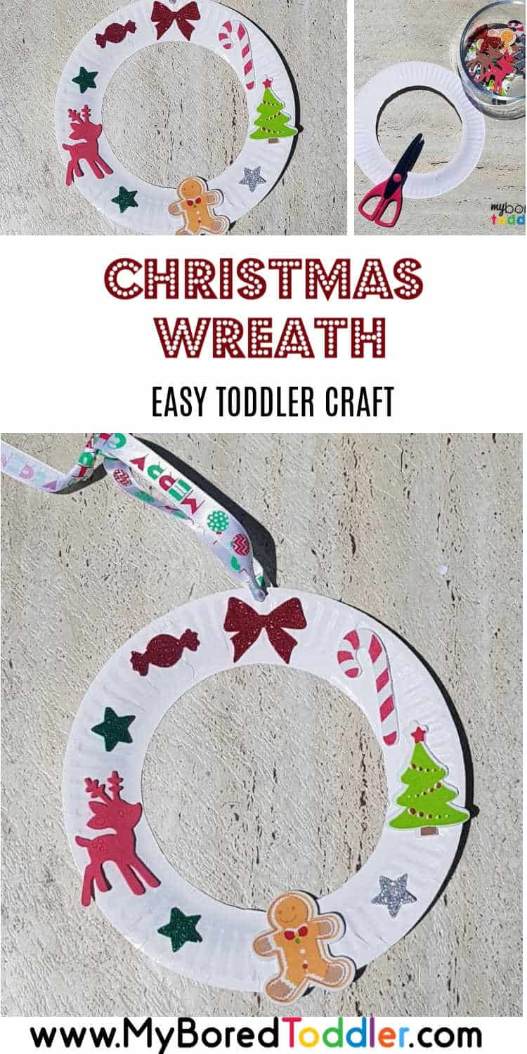 Easy Christmas Sticker Wreath Craft For Toddlers My Bored Toddler