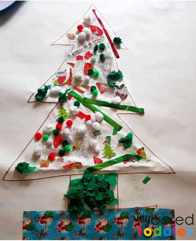 Giant Christmas Tree Collage Craft for Toddlers