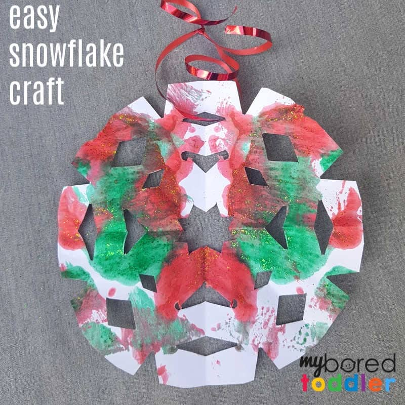 easy christmas painted snowflake craft cut out final feature