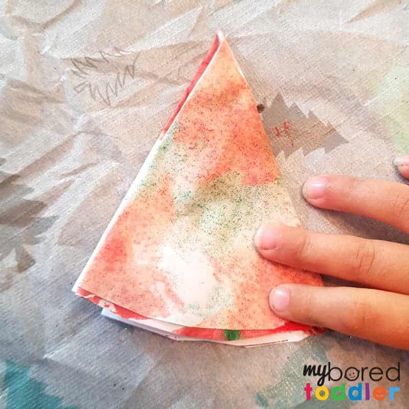 easy christmas painted snowflake craft folded