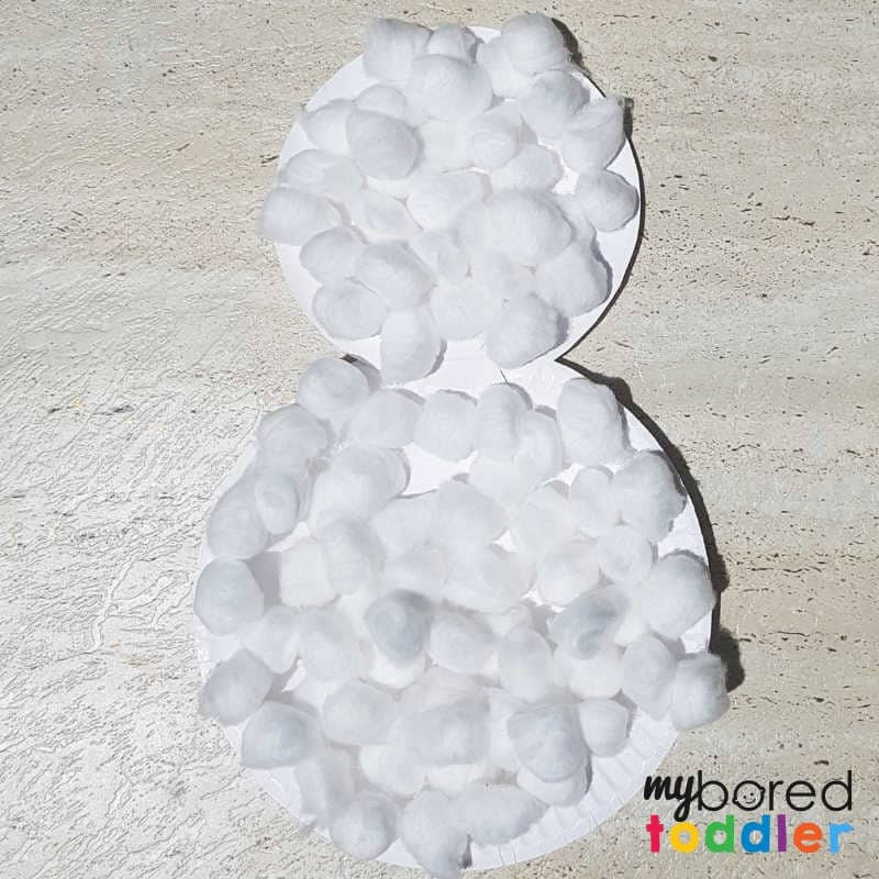 paperplate snowman craft covered in cotton wool balls (1)