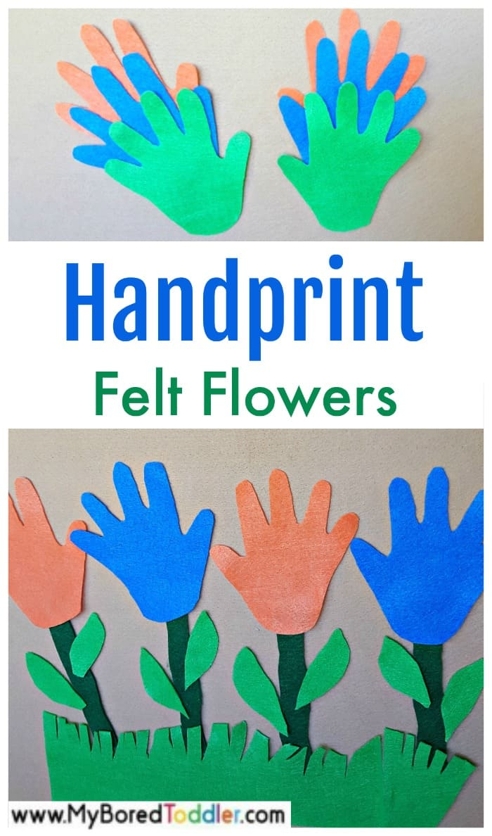 Handprint felt flowers toddler activity