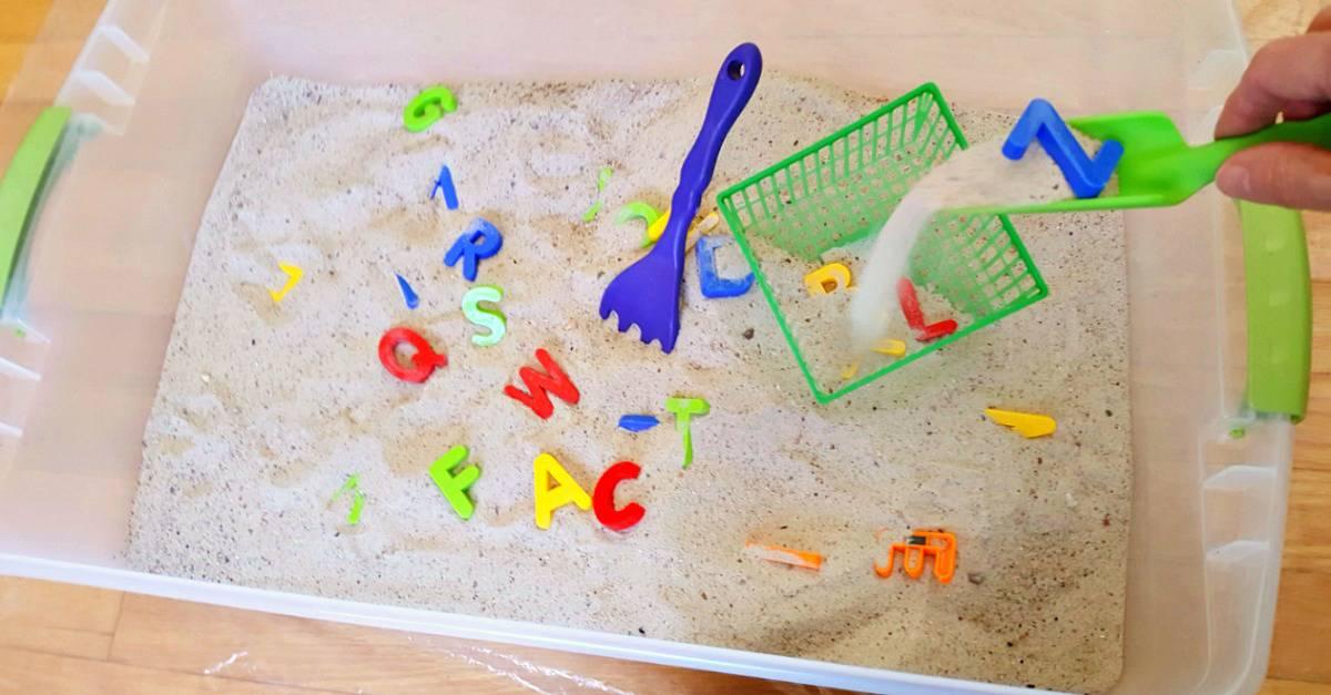 easy alphabet sensory bin for toddlers