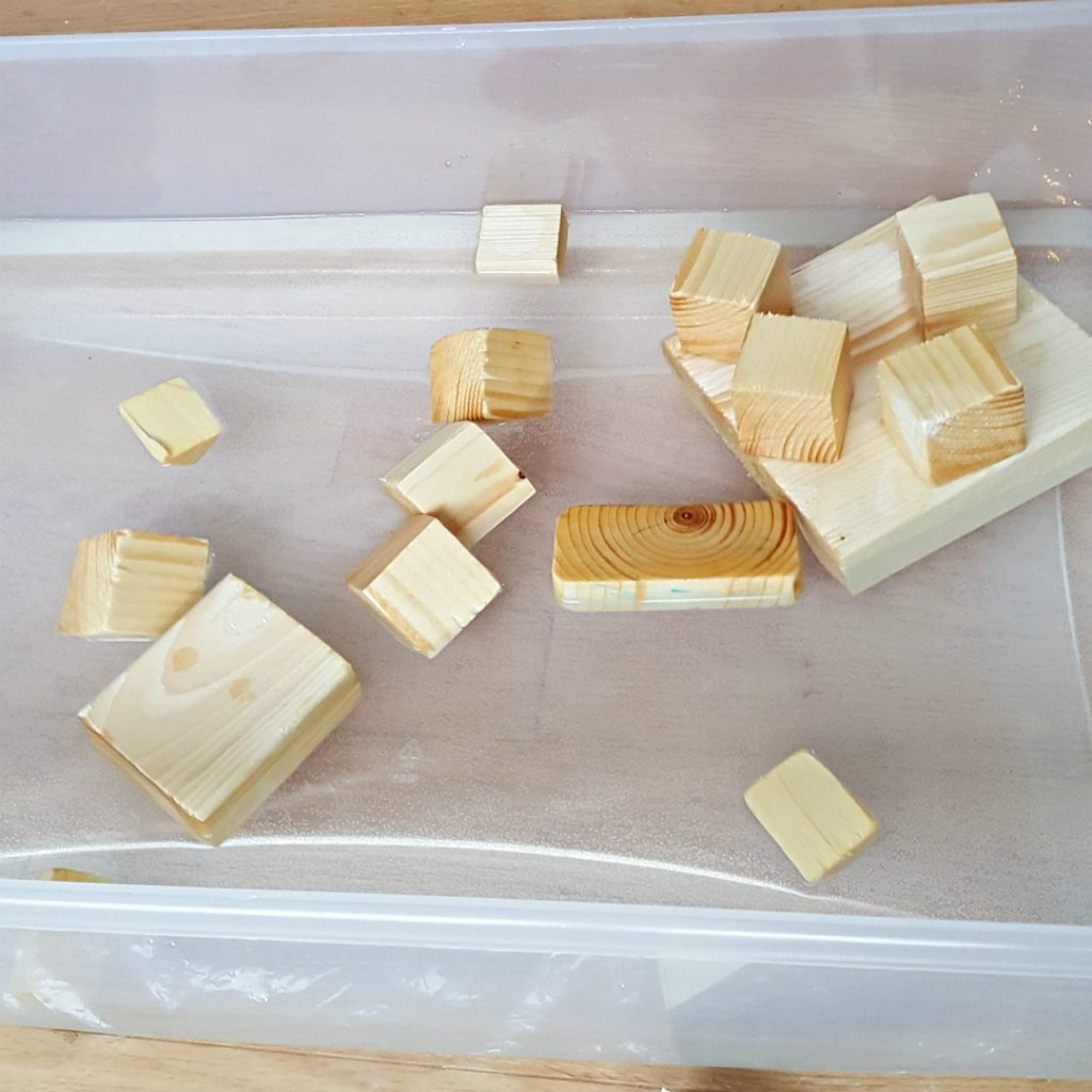 Water Play with Wood Blocks