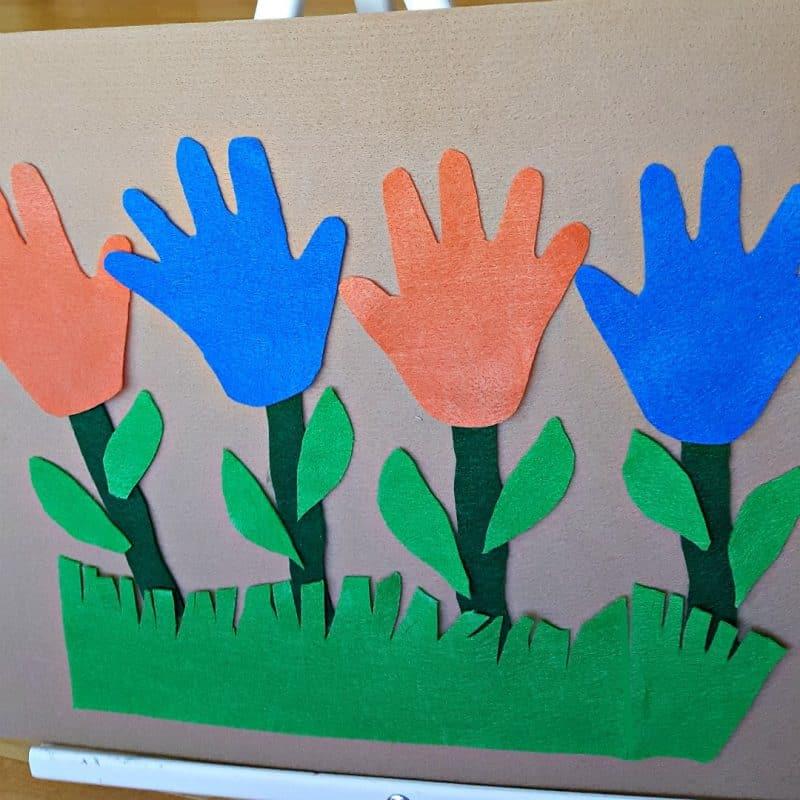 handprint flower garden toddler activity