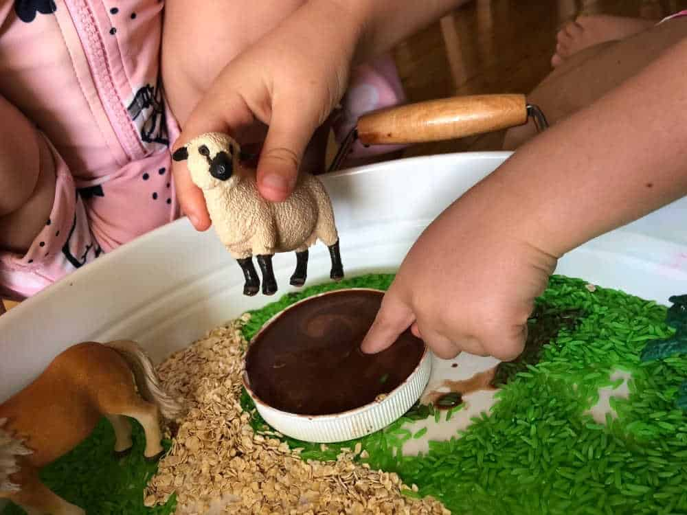 how to play with the farm sensory bin 2