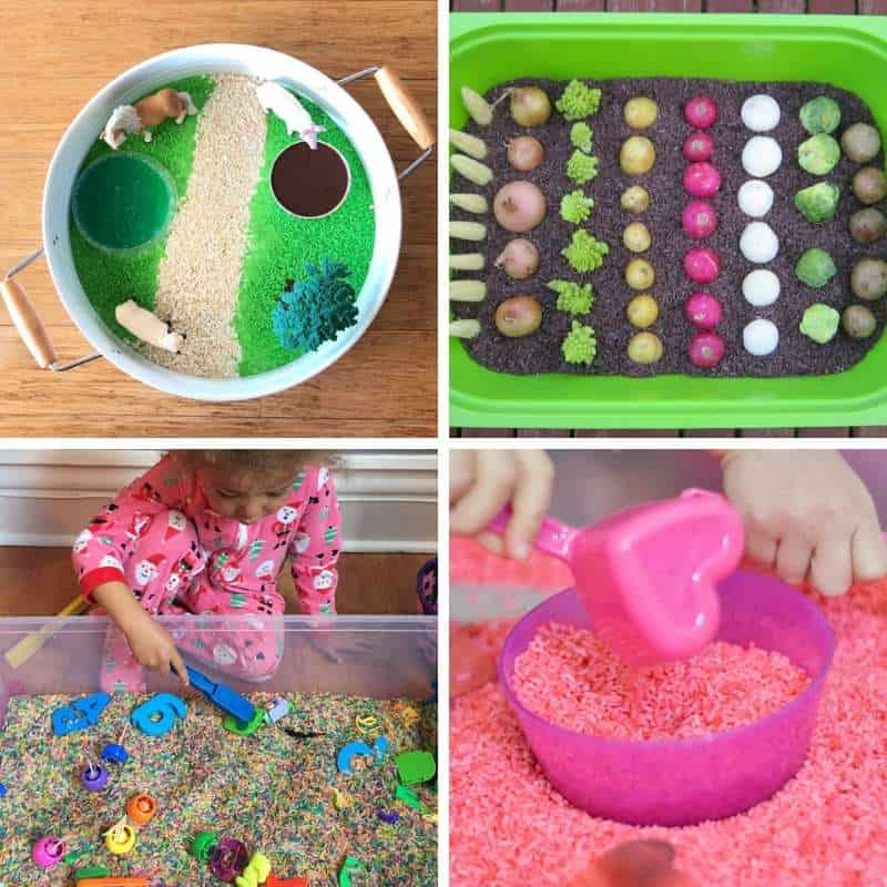 sensory explorations with rice based sensory play for toddlers